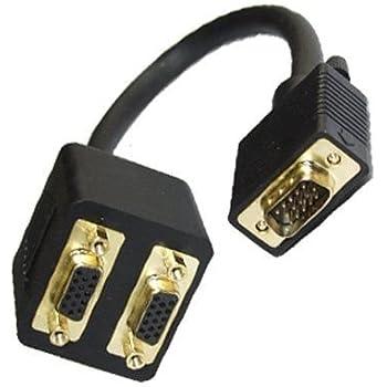 Cordon VGA male vers 2 connecteurs femelle - 0.30m