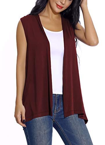 EXCHIC Damen Lässig Armellose Leichte Offene Tunika Weste Strickjacke (XL, Wine Red) Weste Jacke