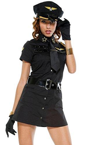 FGDJTYYJ Europa-Halloween-Spiel Uniformen/Locken/Kostüme/schwarz-weiß/Stewardess (Weibliche Polizei Kostüm)