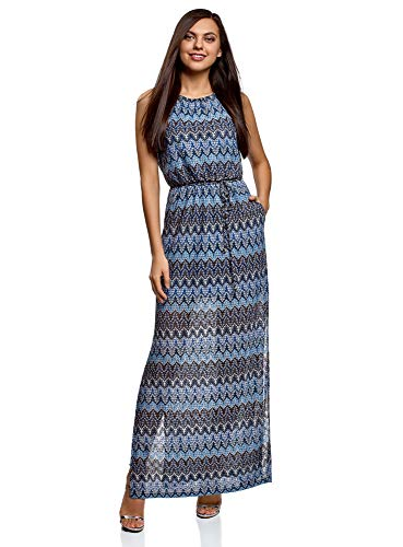 oodji Collection Damen Maxi-Kleid mit Gummizug an der Taille, Blau, DE 32 / EU 34 / XXS - Maxi-kleid Xxs