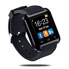 Idea Regalo - LaTEC SmartWatch bluetooth, orologio intelligente, fitness band, orologio telefono, orologio da polso con touch screen, pedometro per Android OS Smartphone (Nero)