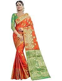 Kalapy Fashion Women's Ethnicwear Multicolor Banarasi Silk Saree With Blouse piece …