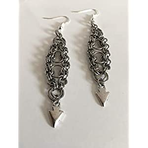 "Stainless Steel Bike Earrings Chainmaille with Silver Arrow Dangle. 2"" in Length Punk Goth Glamour"