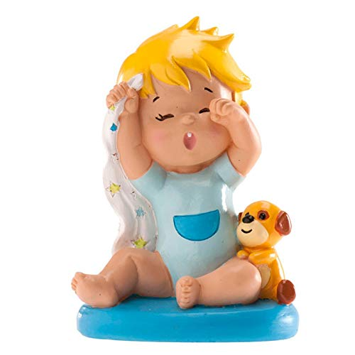 Resin figure for cake, baby yawning, for baptism or birth.