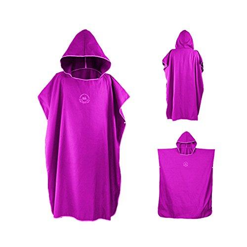 Ele eleoption - poncho asciugamano con cappuccio in microfibra, ideale per il surf, compatto e leggero, perfetto per spiaggia, vacanze, viaggi, surf, taglia unica rose purple