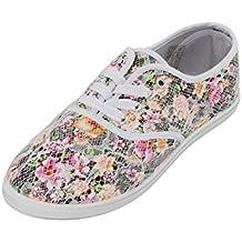 Schwarze Sneaker mit Blumenmuster (36 ufF4GZ