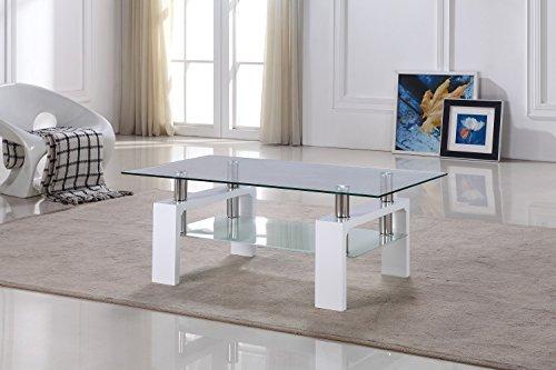 CADENTRO Table Basse Blanche Laquée avec Plateau en Verre - Bianco