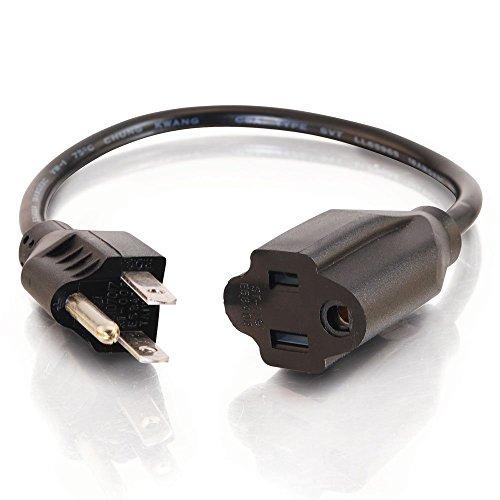 C2G 3Ft Outlet Saver 18AWG Power Extension Cord 0.91m NEMA 5-15P Black Power Cable-Power Cables (0.91m, male/female, Nema 5-15P, Black) -