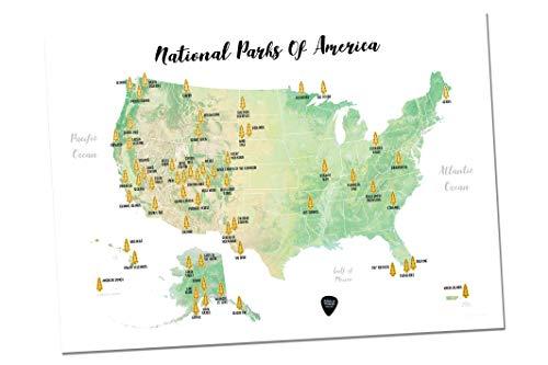 Massive Wanderlust Scratch-Off Ihr National Parks von Amerika-100% Made in USA-Größe 17x 23,5-Gold Rubbel-mit Plektrum und Einzigartiges Geschenk Aufkleber-Perfekte Geschenk für Reisende