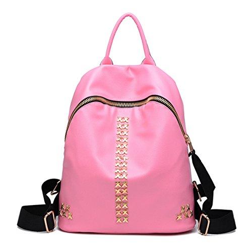 Keshi Pu Niedlich Schulrucksäcke/Rucksack Damen/Mädchen Vintage Schule Rucksäcke mit Moderner Streifen für Teens Jungen Studenten Pink