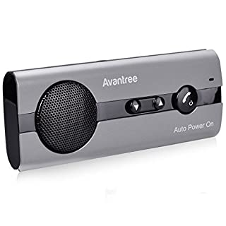 Avantree 10BS Hands-Free Bluetooth Visor Car Kit with Auto Power On Motion Sensor, Wireless Handsfree In-Car Speakerphone Supports GPS, Music, Compatible with iPhone, Samsung, and Smartphones