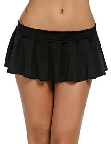 Pagacat Sexy Minirock, verführerisch Kurz Erotik Faltenrock Einfarbig Nachtwäsche für Gogo Party S-XL (XL, Schwarz)