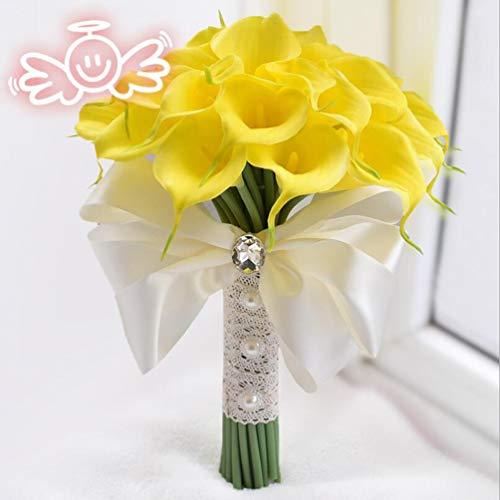 YUI Brautstrauß Handarbeit Callalilie Runde Braut Blumen Halten Geburtstag Party, Yellow