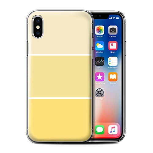 Stuff4 Gel TPU Hülle / Case für Apple iPhone X/10 / Lila Muster / Pastell Farbton Kollektion Gelb
