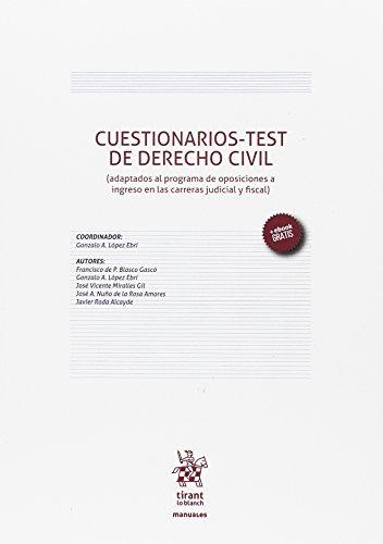 Cuestionarios-test de derecho civil : adaptados al programa de oposiciones a ingreso en las carreras judicial y fiscal por Francisco de Paula Blasco Gascó