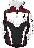 FLYCHEN Felpa con Cappuccio per Donna con Logo Stampato Avengers Endgame Costume Cosplay Iron Man Felpa Quantum Warrior Film di Supereroe - Burgundy 3 - M