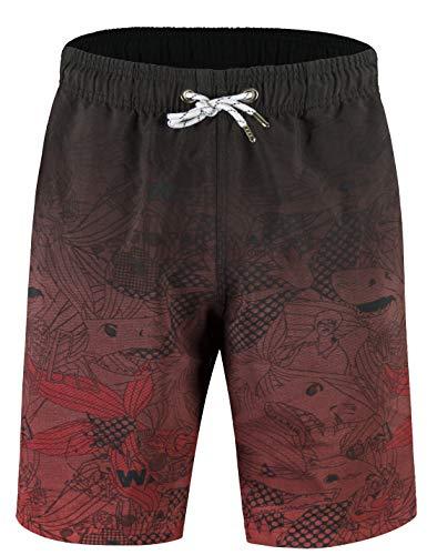 APTRO Herren Short Freizeit Badehose Schnelltrocknend Badeshorts Rot BS023 S -