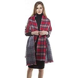 HSHIA Abrigo de la bufanda del mantón de la tela escocesa de Cozy Chequeado Mujeres Señora Manta Tartán de gran tamaño (Rojo)