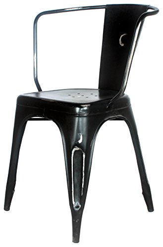 Decoración Vintage Bilimax - Silla, 40 × 40 x 47/84 cm, ancho de brazos 58 cm, color negro envejecido