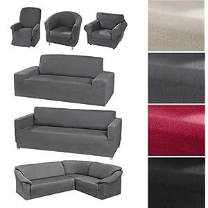 BEAUTEX Milan Sofahusse für Ecksofa, Clubsessel, 1er, 2er, 3er Sitzer, elastische Stretch Husse, Farbe wählbar (1…