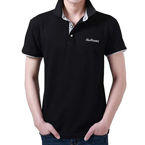 Yvelands Herren T-Shirt Mode Brief Druck Shirt Kurzarm Casual T-Shirt Bluse Polo Business T-Shirt Tops(H,XL)