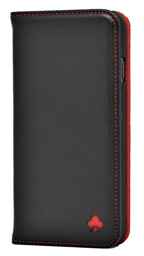 Porter Riley - Lederhülle für iPhone 8 Plus/iPhone 7 Plus. Premium Echtleder Standhülle/Cover/Brieftasche kompatibel mit iPhone 8/7 Plus (Schwarz, Rot) (I Phone Sechs Plus Cover)