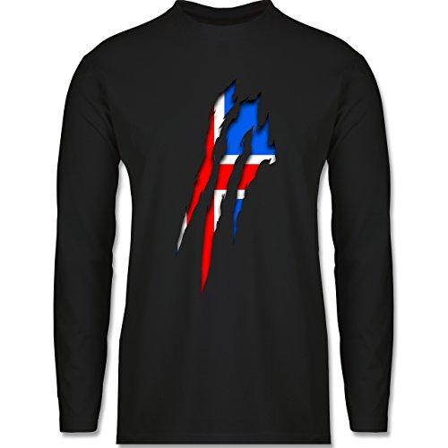 Länder - Island Krallenspuren - Longsleeve / langärmeliges T-Shirt für Herren Schwarz