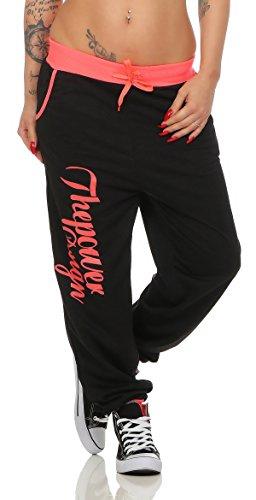 Boxusa Damen Jogginghose Thepower Design Fitnesshose Freizeithose Sporthose (XL, Power Schwarz Pink)