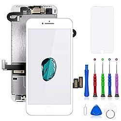 FLYLINKTECH Für iPhone 7 Plus Display Weiß, Ersatz Für LCD Touchscreen Digitizer vormontiert mit Home Button, Hörmuschel, Frontkamera Reparaturset Komplett Ersatz Bildschirm mit Werkzeuge