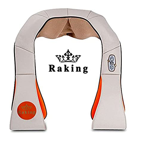 Raking Neck and Shoulder Massager Kneading- Back/Waist/Feet Massager With Heat - Home Spa Machine/Car,Office Chair Massager -Satisfaction Guaranteed (Beige)