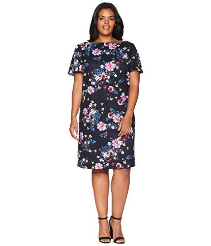 Tahari by ASL Womens Plus Size Short Sleeve Shift Floral Dress