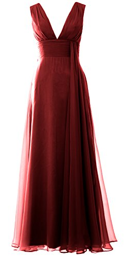 MACloth Women V Neck Long Bridesmaid Dress Chiffon Wedding Party Evening Gown Burgunderrot