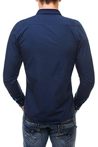 OZONEE Herren Hemd Slim Fit Langarm Freizeithemd Figurbetont RAW LUCCI 638 Dunkelblau