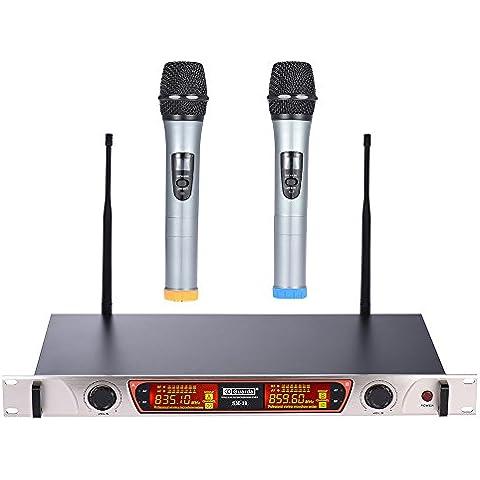 ammoon Doble Canal Micrófono Inalámbrico de Mano UHF Sistema de Micrófono Incluye 2 Micrófonos 1 Receptor con Pantalla LCD 6,35 mm Adaptador de Corriente Cable de Audio para el Karaoke Reunión