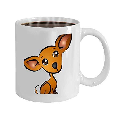 Funny Coffee Mug Gift Cartoon Chihuahua Dog Clip Art Graphic Clip-handle Mug