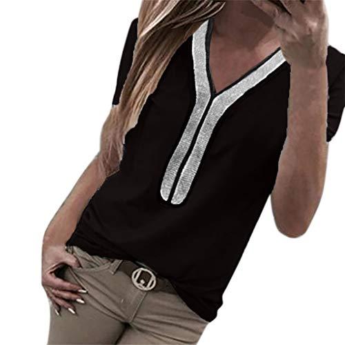 Kviklo Damen Plus Size T-Shirt Pailletten Kurzarm V-Ausschnitt Tops Kostüm Bluse Oversize(S(36),Schwarz) (Womens Kostüm C3po)