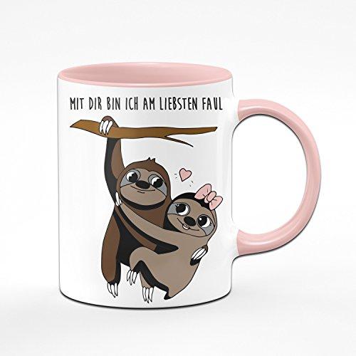 Tassenbrennerei Faultier Tasse Mit Dir Bin ich am liebsten Faul – Kaffeetasse – Geschenk für Freundin – rosa