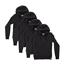 Campus Sutra Black Zipped men Hooded Sweatshirt Combo of 4
