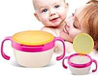 Leakproof Baby Snack Bowl Biscuits Cup Baby Cup With Handle (Pink)