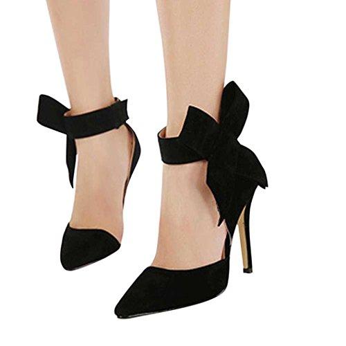 (UFACE GroßE High Heels Schuhe aus Wildleder mit Wildlederimitat Frauen Pumps Einem GroßEn Bogen Fliege Scharfen Zehe Stilettos Plus Size (35, Schwarz))