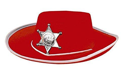 Cowboyhut in rot mit Sheriffstern für Kinder Hut Cowboy Fasching Kostüm (Sheriff Halloween Cowboy Kostüme Hut)