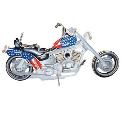 Harley Davidson I - farbig 3D Holzbausatz Motorrad Fahrzeug Holz Steckpuzzle Kinder Holzpuzzle (Bausatz Harley Davidson)