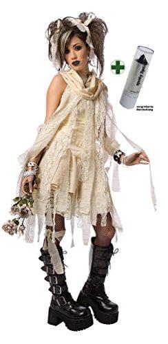 Kostüm Gothic sexy Mumie Damen Halloween Karneval Mumien Damenkostüm INKL. Lippenstift schwarz (Geist Kostüm Mumie)