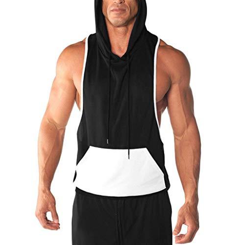 Aoogo Herren Spot Weste Jacke Leichter Patchwork Ärmellos kontrastierender Hoodie Unterhemd, Muskel Shirt Unterhemden Ärmellos Weste Muskelshirt Fitness