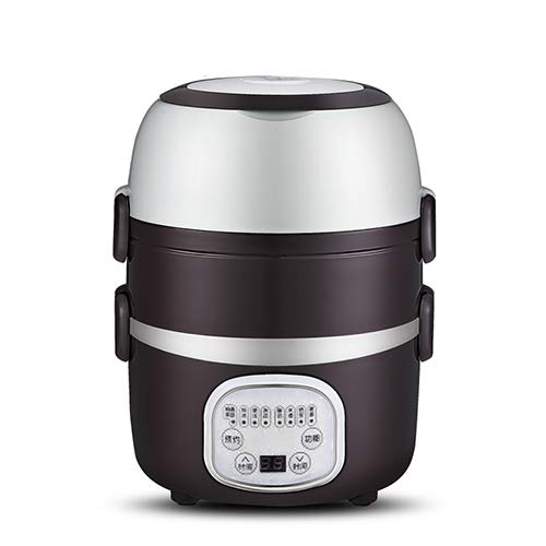 DETZFPCMTS Mini Rice Cooker Layers Meal Steamer Thermal Cooking Pot Food Heating Electric Lunchbox Container EU Brown smart Three