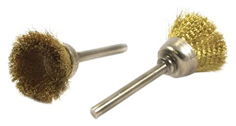 Forney 60232 Brass Cup Brush Set with 1/8-Inch Shaft, 2-Piece by Forney