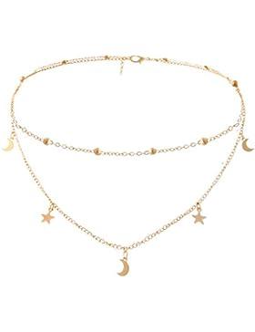 Eternity Amor Damen Halskette Choker Gold Kette mit Stern Mond Anhänger für Frauen Mädchen