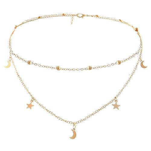 Legitta Damen Halskette Choker Gold Kette mit Anhänger Stern Mond für Frauen (Modeschmuck Goldene Lange Halskette)