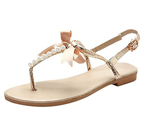 Minetom Damen Mädchen Sommer Flache Sandalen mit Schleife und Weiße Perlen T-Riemen Zehentrenner Sandaletten Peep Toe Schuhe Gold EU 41