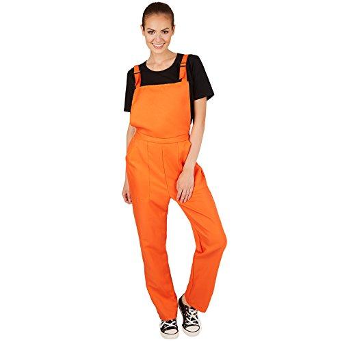 TecTake dressforfun Unisex Latzhose | Kostüm für Handwerker, Gärtner, Bauarbeiter, Neonlook oder auch Bad Tasteverkleidung (Orange | S | Nr. ()